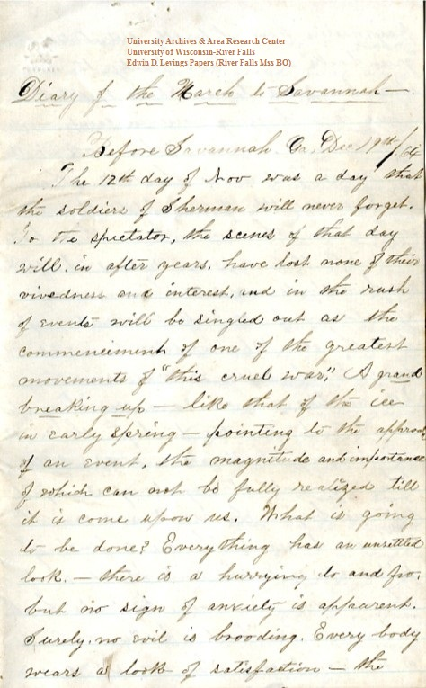 Edwin Levings diary, December 19, 1864, from the Edwin D. Levings Papers (River Falls Mss BO) in the University Archives & Area Research Center at the University of Wisconsin-River Falls  -  page 1
