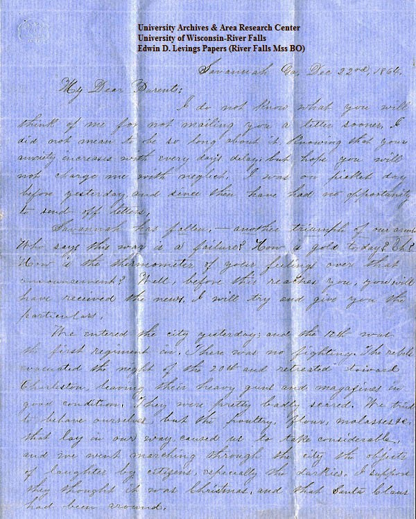 Edwin Levings letter of December 22, 1864, from the Edwin D. Levings Papers (River Falls Mss BO) in the University Archives & Area Research Center at the University of Wisconsin-River Falls  -  page 1