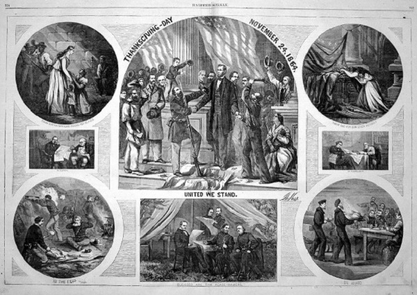"Thanksgiving Day, November 24, 1864, from ""Harper's Weekly"""