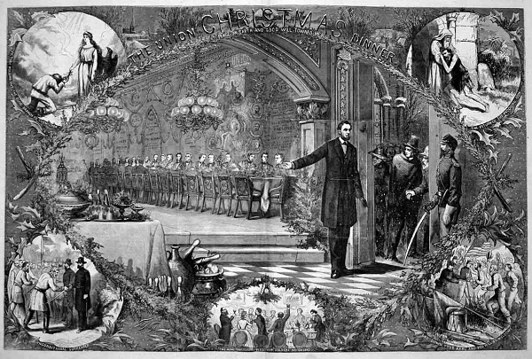 "Thomas Nast's 1864 Christmas centerfold for ""Harper's Weekly"""
