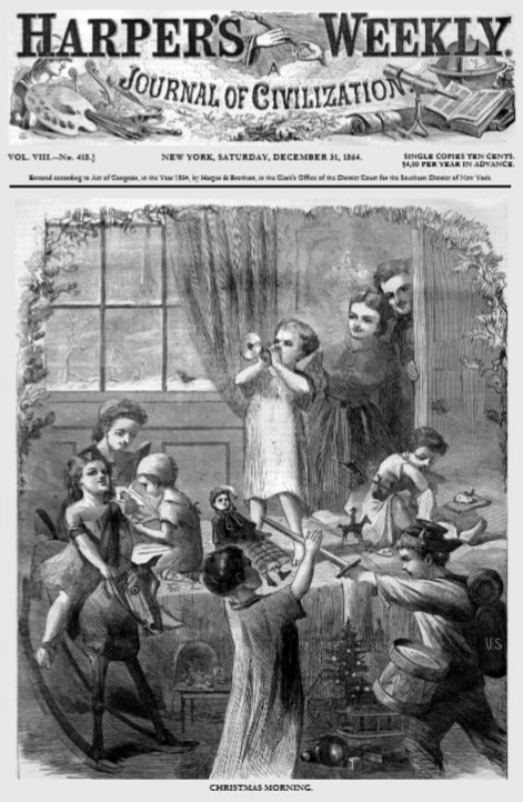 """Christmas Morning,"" the cover of the December 31, 1864, ""Harper's Weekly"""