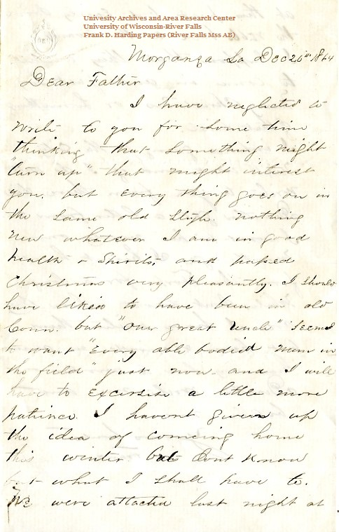 Frank Harding letter of December 26, 1864, from the Frank D. Harding Papers (River Falls Mss AB) in the University Archives & Area Research Center at the University of Wisconsin-River Falls