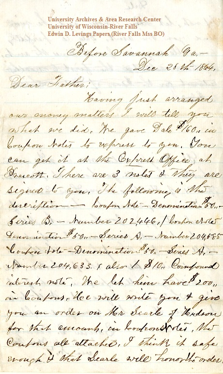 Edwin Levings letter of December 20, 1864, from the Edwin D. Levings Papers (River Falls Mss BO) in the University Archives & Area Research Center at the University of Wisconsin-River Falls