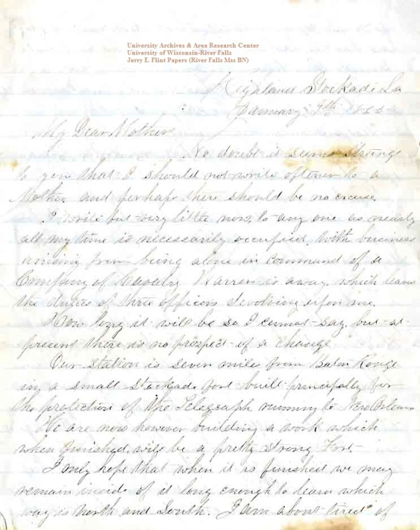 Jerry Flint letter of January 9, 1865, from the Jerry E. Flint Papers (River Falls Mss BN) at the University of Wisconsin-River Falls University Archives & Area Research Center
