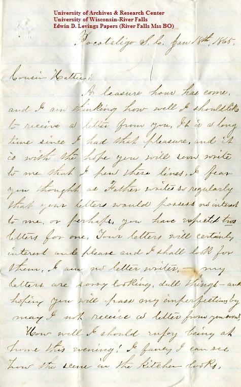 Levings letter 1865-01-18