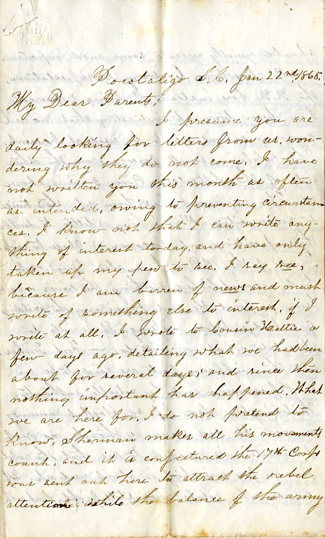 Edwin Levings letter of January 22, 1865, from the Edwin D. Levings Papers (River Falls Mss BO) in the University Archives & Area Research Center at the University of Wisconsin-River Falls
