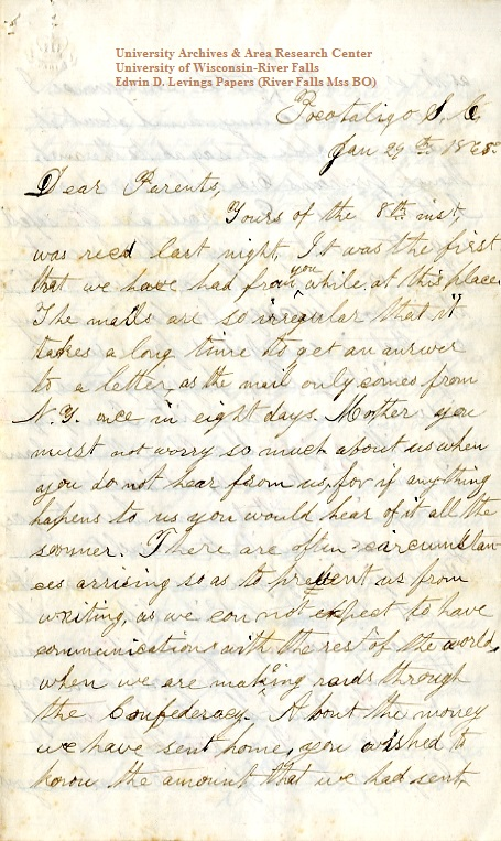 Homer Levings letter of January 29, 1865, from the Edwin D. Levings Papers (River Falls Mss BO) in the University Archives & Area Research Center at the University of Wisconsin-River Falls
