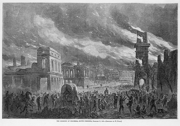 """Burning of Columbia, South Carolina, February 17, 1865,"" by William Waud"