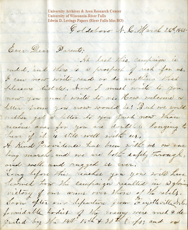 Edwin Levings letter of  March 26, 1865, from the Edwin D. Levings Papers (River Falls Mss BO) in the University Archives & Area Research Center at the University of Wisconsin-River Falls