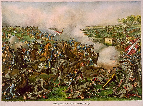 """Battle of Five Forks, Va.,"" from the Library of Congress"