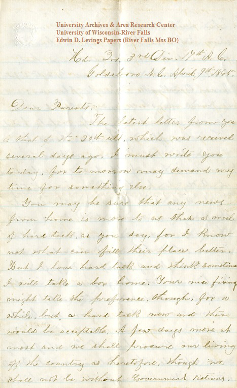 Edwin Levings letter of April 9, 1865, from the Edwin D. Levings Papers (River Falls Mss BO) in the University Archives & Area Research Center at the University of Wisconsin-River Falls