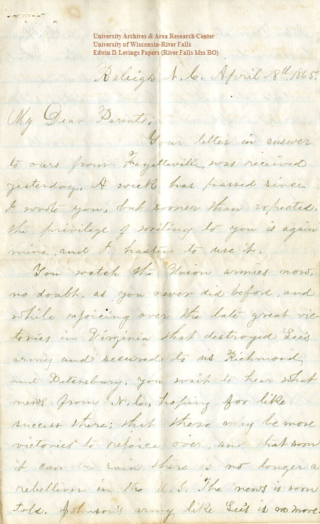 Edwin Levings letter of April 18, 1865, from the Edwin D. Levings Papers (River Falls Mss BO) in the University Archives & Area Research Center at the University of Wisconsin-River Falls