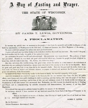A Day of Fasting and Prayer: Governor Lewis' Proclamation
