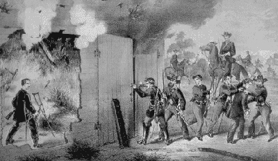 """Capture of Herold and the Shooting of Booth in the Barn of Garath's Farm by a detachment of the 16th New York Cavalry under the Order of Col Baker."" Lithograph by Charles, Kimmel & Foster, 1865."
