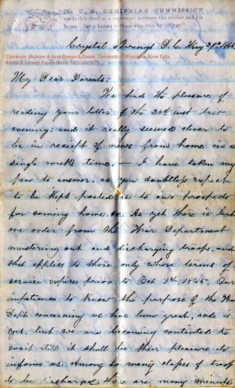 Edwin Levings letter of May 27, 1865, from the Edwin D. Levings Papers (River Falls Mss BO) in the University Archives & Area Research Center at the University of Wisconsin-River Falls