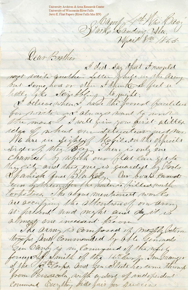 Jerry Flint letter of April 8, 1865, from the Jerry E. Flint Papers (River Falls Mss BN) at the University of Wisconsin-River Falls University Archives & Area Research Center