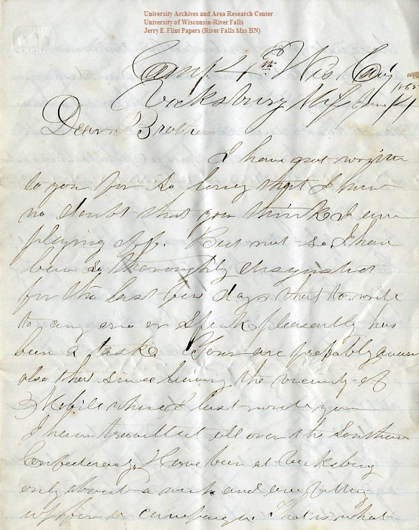 Jerry Flint letter of June 14, 1865, from the Jerry E. Flint Papers (River Falls Mss BN) at the University of Wisconsin-River Falls University Archives & Area Research Center