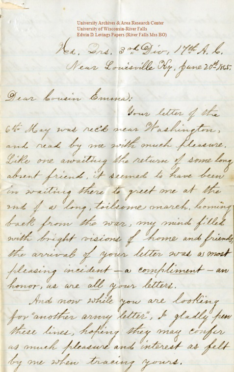 Edwin Levings letter of June 20, 1865, from the Edwin D. Levings Papers (River Falls Mss BO) in the University Archives & Area Research Center at the University of Wisconsin-River Falls