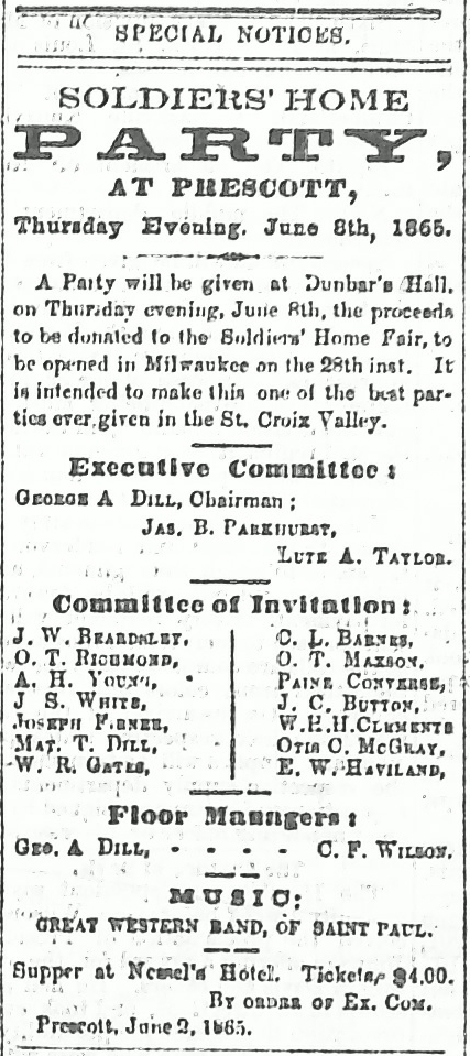 Prescott Journal, 6-3-1865, Soldiers Home Party