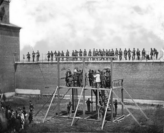 Adjusting the ropes for hanging the conspirators, from the Library of Congress
