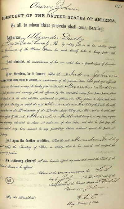 Alexander Dudley's pardon