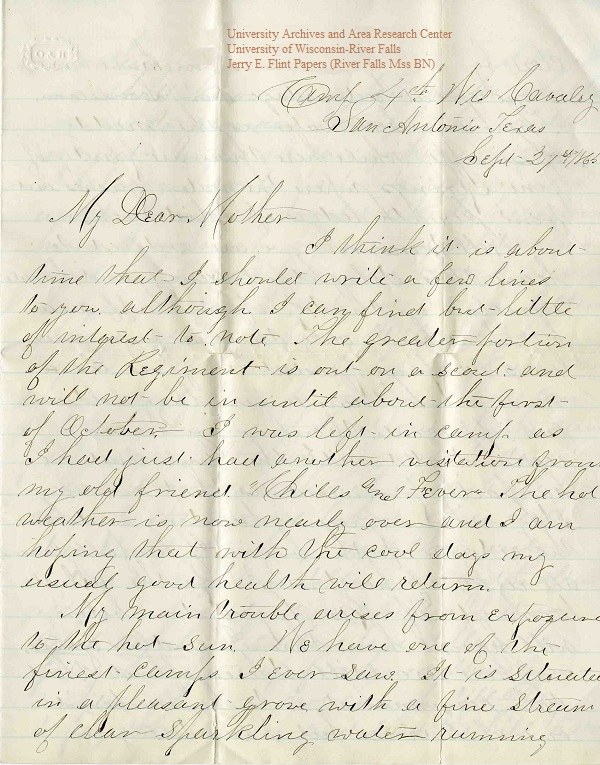 Jerry Flint letter of September 27, 1865, from the Jerry E. Flint Papers (River Falls Mss BN) at the University of Wisconsin-River Falls University Archives & Area Research Center